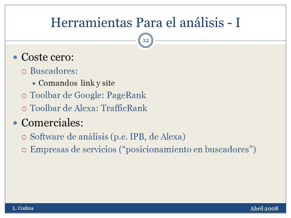 Herramientas Para el análisis - I Coste cero: Buscadores: Comandos link y site Toolbar de Google: PageRank Toolbar de Alexa: TrafficRank Comerciales: Software de análisis (p.e.