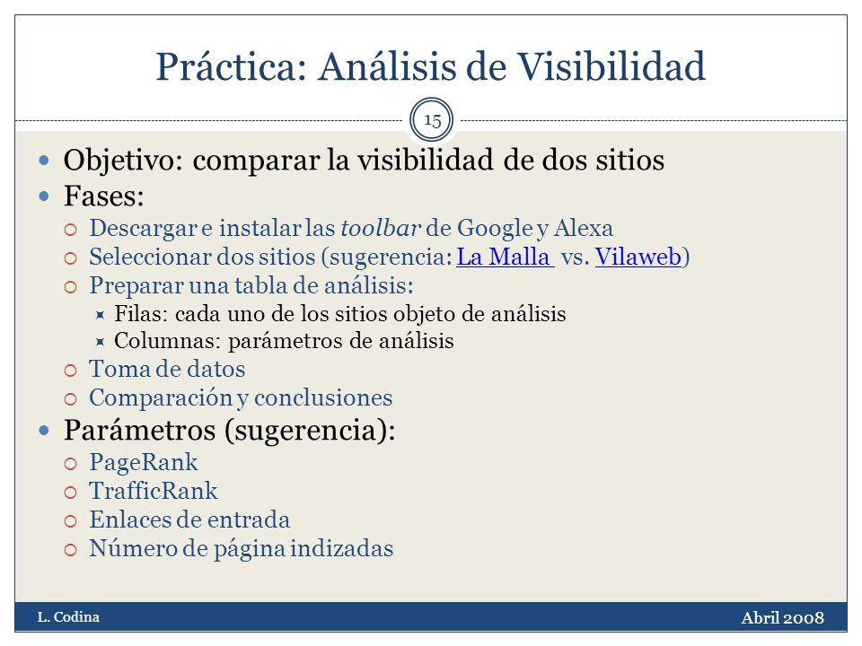 Práctica: Análisis de Visibilidad Objetivo: comparar la visibilidad de dos sitios Fases: Descargar e instalar las toolbar de Google y Alexa Seleccionar dos sitios (sugerencia: La Malla vs.