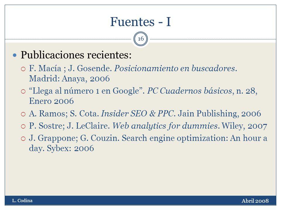 Fuentes - I Publicaciones recientes: F. Macía ; J.