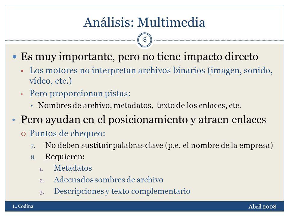 Análisis: Multimedia Es muy importante, pero no tiene impacto directo Los motores no interpretan archivos binarios (imagen, sonido, vídeo, etc.) Pero proporcionan pistas: Nombres de archivo, metadatos, texto de los enlaces, etc.