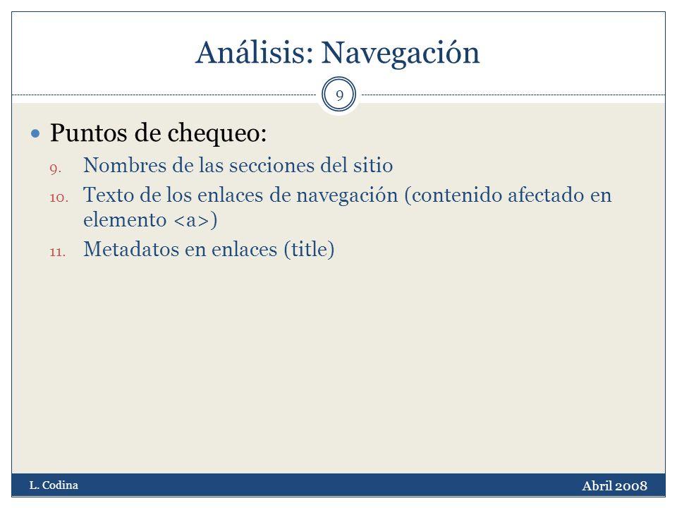 Análisis: Navegación Puntos de chequeo: 9. Nombres de las secciones del sitio 10.