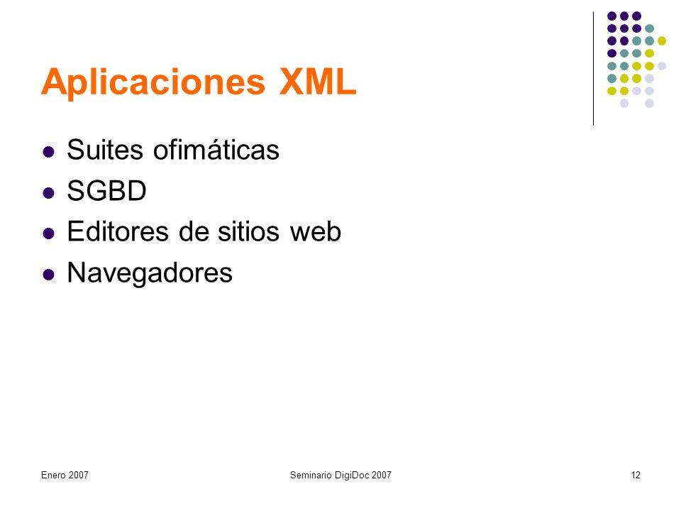 Enero 2007Seminario DigiDoc 200712 Aplicaciones XML Suites ofimáticas SGBD Editores de sitios web Navegadores
