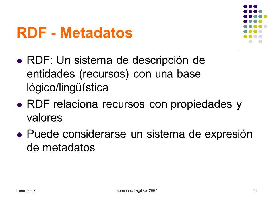 Enero 2007Seminario DigiDoc 200714 RDF - Metadatos RDF: Un sistema de descripción de entidades (recursos) con una base lógico/lingüística RDF relaciona recursos con propiedades y valores Puede considerarse un sistema de expresión de metadatos