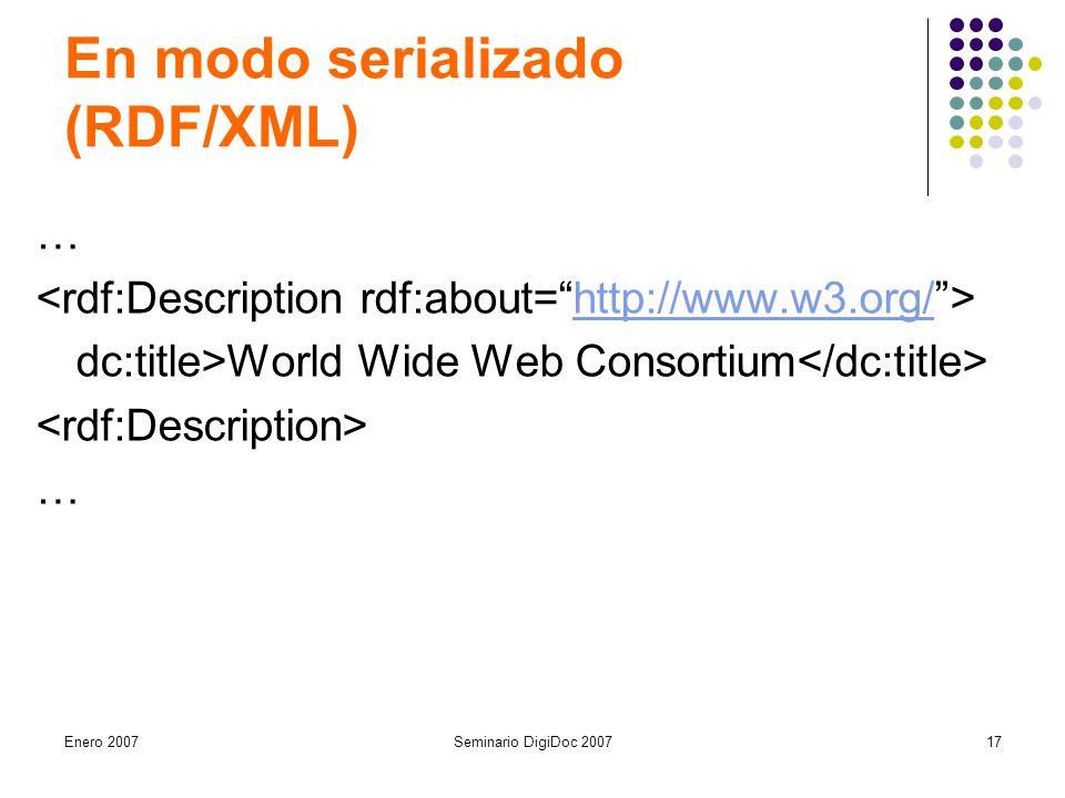 Enero 2007Seminario DigiDoc 200717 En modo serializado (RDF/XML) … http://www.w3.org/ dc:title>World Wide Web Consortium …