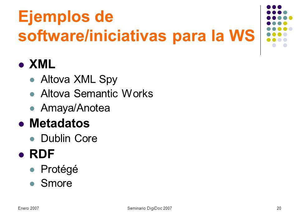 Enero 2007Seminario DigiDoc 200720 Ejemplos de software/iniciativas para la WS XML Altova XML Spy Altova Semantic Works Amaya/Anotea Metadatos Dublin Core RDF Protégé Smore