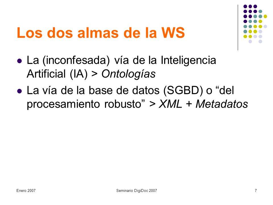 Enero 2007Seminario DigiDoc 20077 Los dos almas de la WS La (inconfesada) vía de la Inteligencia Artificial (IA) > Ontologías La vía de la base de datos (SGBD) o del procesamiento robusto > XML + Metadatos