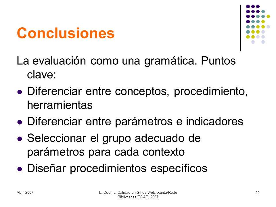 Abril 2007L. Codina. Calidad en Sitios Web. Xunta/Rede Bibliotecas/EGAP, 2007 11 Conclusiones La evaluación como una gramática. Puntos clave: Diferenc