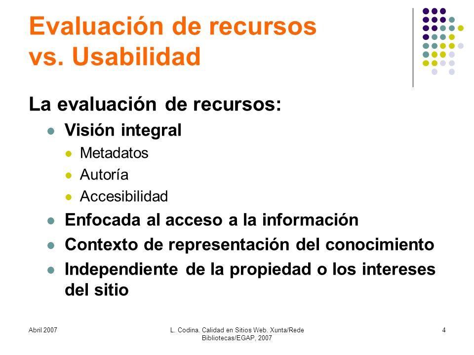 Abril 2007L. Codina. Calidad en Sitios Web. Xunta/Rede Bibliotecas/EGAP, 2007 4 Evaluación de recursos vs. Usabilidad La evaluación de recursos: Visió
