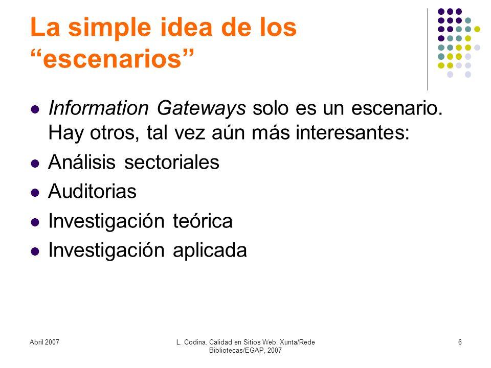Abril 2007L. Codina. Calidad en Sitios Web. Xunta/Rede Bibliotecas/EGAP, 2007 6 La simple idea de los escenarios Information Gateways solo es un escen