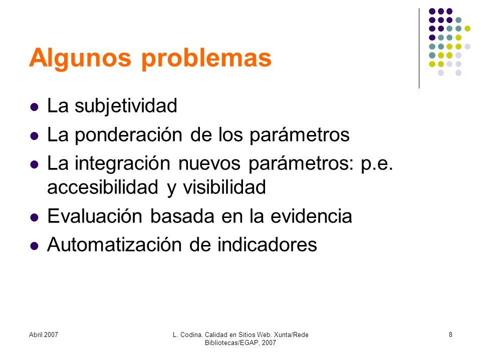 Abril 2007L. Codina. Calidad en Sitios Web. Xunta/Rede Bibliotecas/EGAP, 2007 8 Algunos problemas La subjetividad La ponderación de los parámetros La