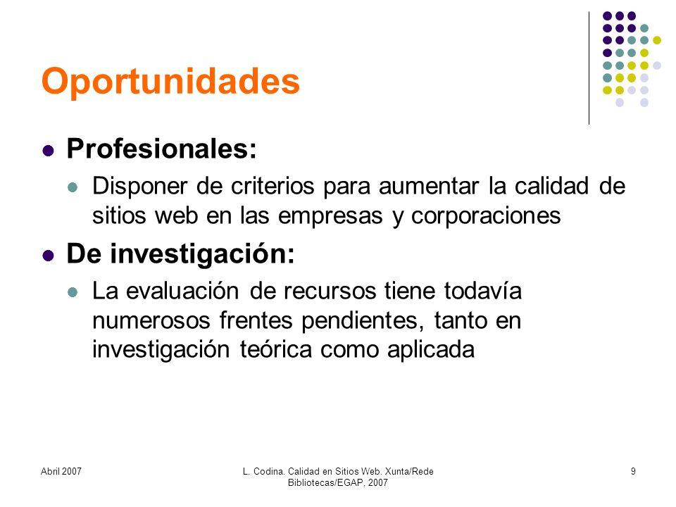 Abril 2007L. Codina. Calidad en Sitios Web. Xunta/Rede Bibliotecas/EGAP, 2007 9 Oportunidades Profesionales: Disponer de criterios para aumentar la ca