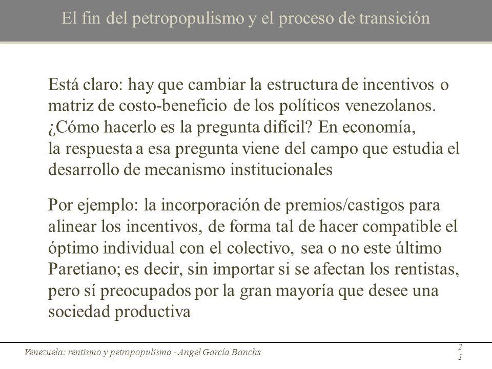 El fin del petropopulismo y el proceso de transición Está claro: hay que cambiar la estructura de incentivos o matriz de costo-beneficio de los políti