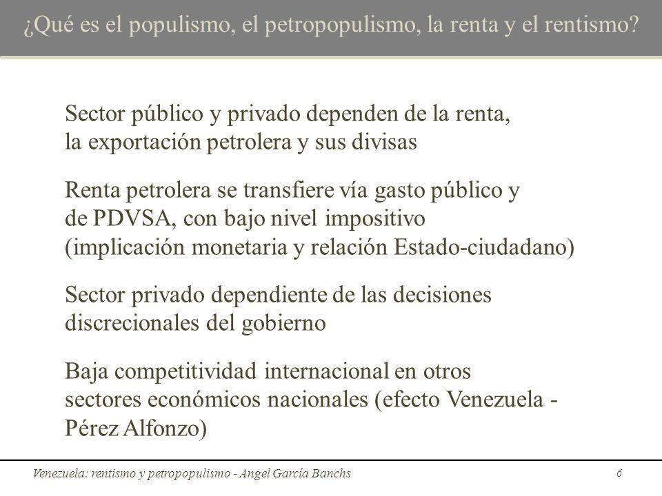 ¿Qué es el populismo, el petropopulismo, la renta y el rentismo? Sector público y privado dependen de la renta, la exportación petrolera y sus divisas
