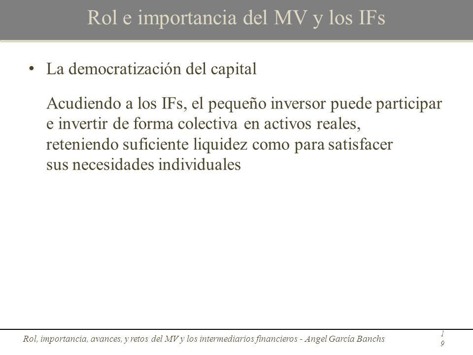 Rol e importancia del MV y los IFs La democratización del capital Acudiendo a los IFs, el pequeño inversor puede participar e invertir de forma colect