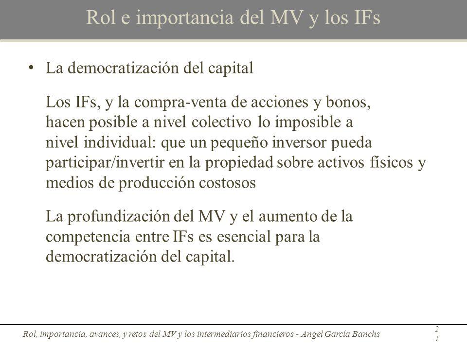 Rol e importancia del MV y los IFs La democratización del capital Los IFs, y la compra-venta de acciones y bonos, hacen posible a nivel colectivo lo i