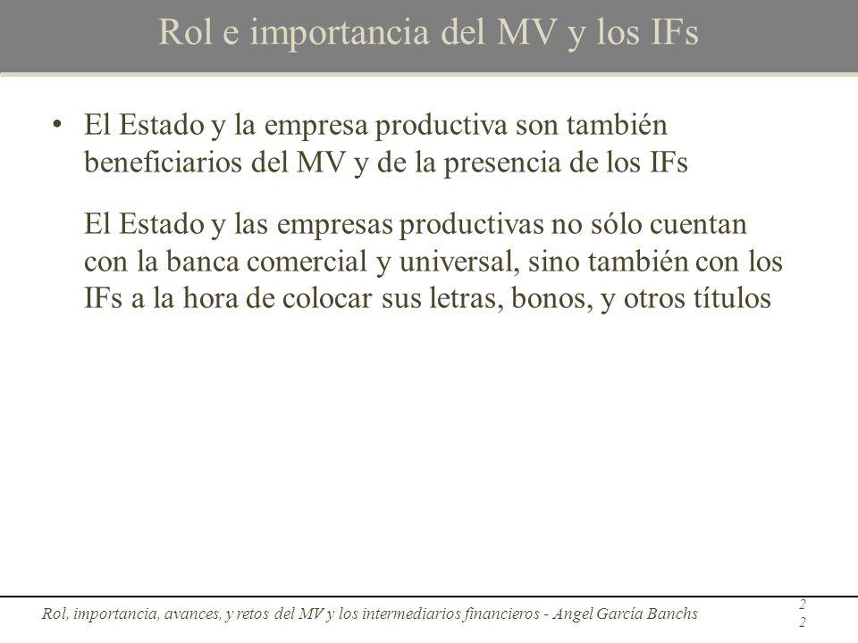 Rol e importancia del MV y los IFs El Estado y la empresa productiva son también beneficiarios del MV y de la presencia de los IFs El Estado y las emp