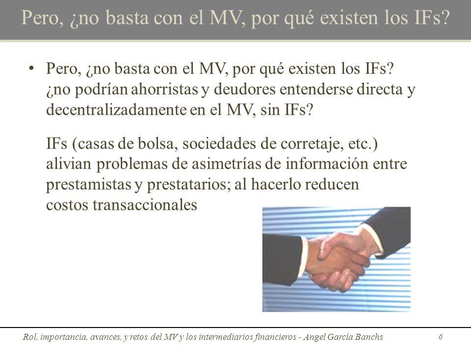 Rol e importancia del MV y los IFs La socialización de la propiedad la empresa productiva En la medida en que disminuye el tamaño del MV y el número de IFs tiende a exacerbarse en la sociedad la concentración de la propiedad en pocas manos Rol, importancia, avances, y retos del MV y los intermediarios financieros - Angel García Banchs17