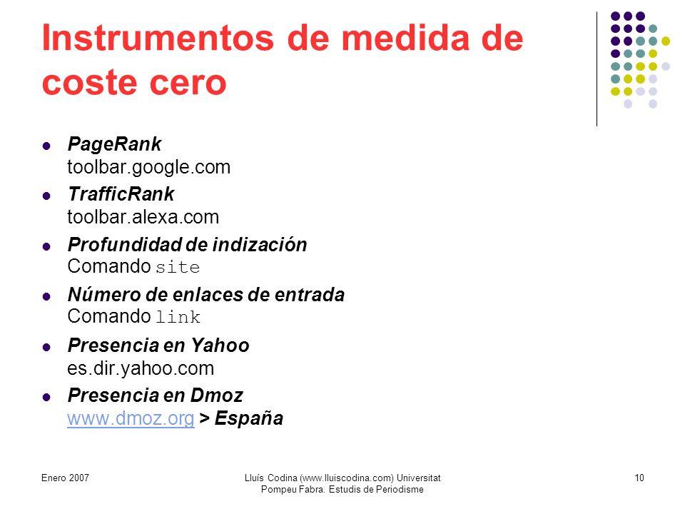 Instrumentos de medida de coste cero PageRank toolbar.google.com TrafficRank toolbar.alexa.com Profundidad de indización Comando site Número de enlaces de entrada Comando link Presencia en Yahoo es.dir.yahoo.com Presencia en Dmoz www.dmoz.org > España www.dmoz.org 10Lluís Codina (www.lluiscodina.com) Universitat Pompeu Fabra.