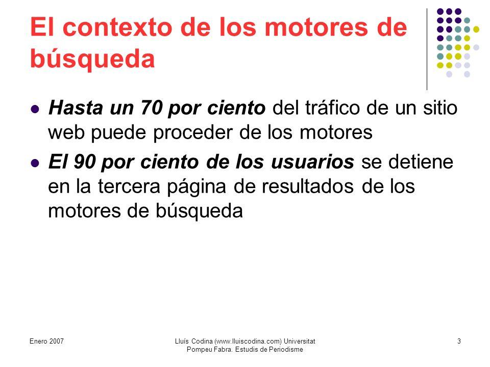 El contexto de los motores de búsqueda Hasta un 70 por ciento del tráfico de un sitio web puede proceder de los motores El 90 por ciento de los usuarios se detiene en la tercera página de resultados de los motores de búsqueda 3Lluís Codina (www.lluiscodina.com) Universitat Pompeu Fabra.