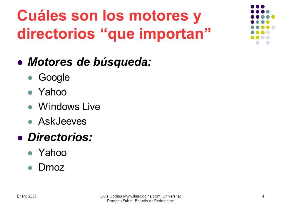 Cuáles son los motores y directorios que importan Motores de búsqueda: Google Yahoo Windows Live AskJeeves Directorios: Yahoo Dmoz 4Lluís Codina (www.lluiscodina.com) Universitat Pompeu Fabra.