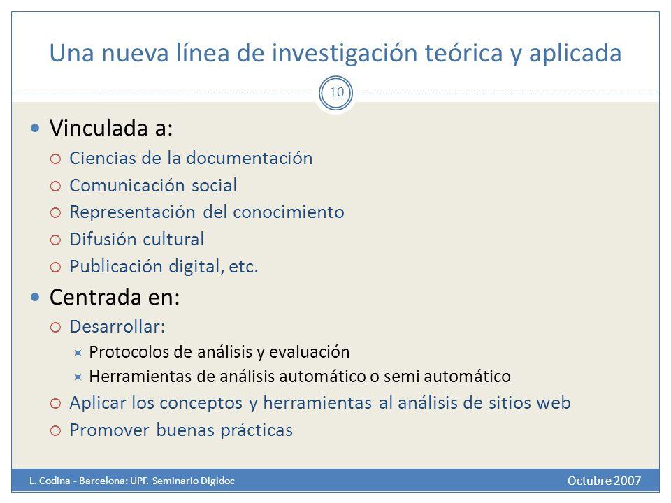 Una nueva línea de investigación teórica y aplicada Octubre 2007 L. Codina - Barcelona: UPF. Seminario Digidoc 10 Vinculada a: Ciencias de la document