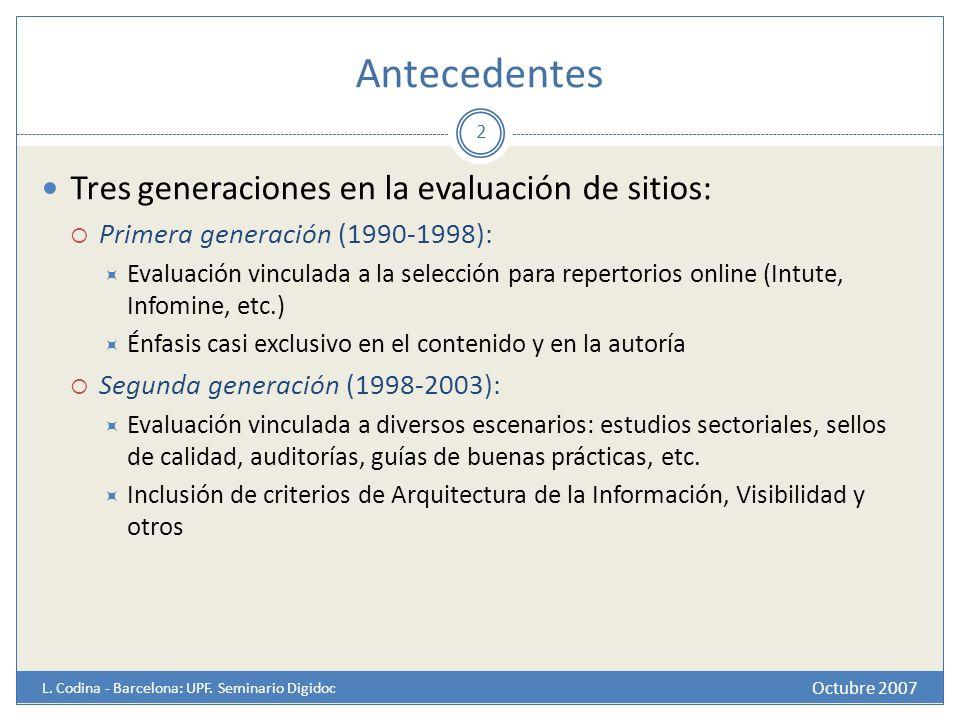 Antecedentes Octubre 2007 L. Codina - Barcelona: UPF. Seminario Digidoc Tres generaciones en la evaluación de sitios: Primera generación (1990-1998):