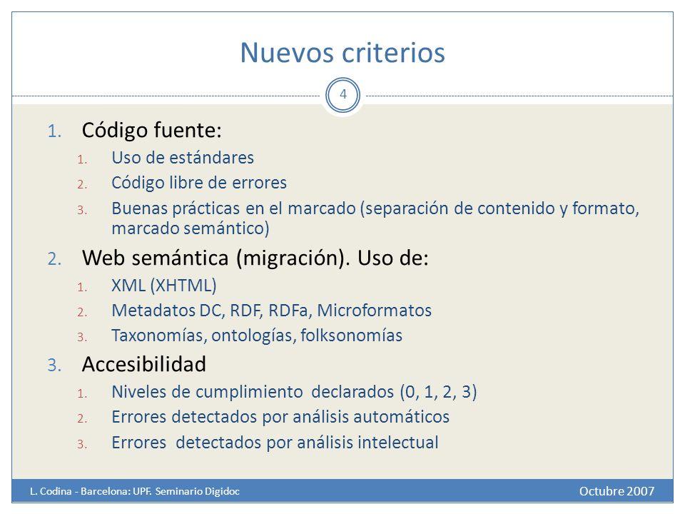 Nuevos criterios Octubre 2007 L. Codina - Barcelona: UPF. Seminario Digidoc 4 1. Código fuente: 1. Uso de estándares 2. Código libre de errores 3. Bue