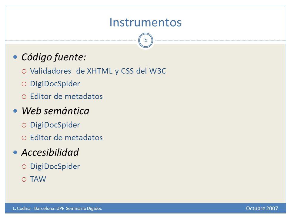 Instrumentos Octubre 2007 L. Codina - Barcelona: UPF. Seminario Digidoc Código fuente: Validadores de XHTML y CSS del W3C DigiDocSpider Editor de meta