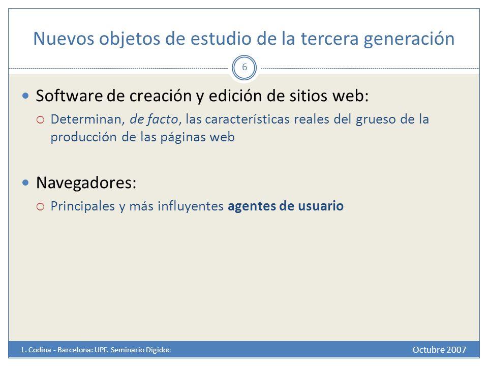 Nuevos objetos de estudio de la tercera generación Octubre 2007 L. Codina - Barcelona: UPF. Seminario Digidoc 6 Software de creación y edición de siti
