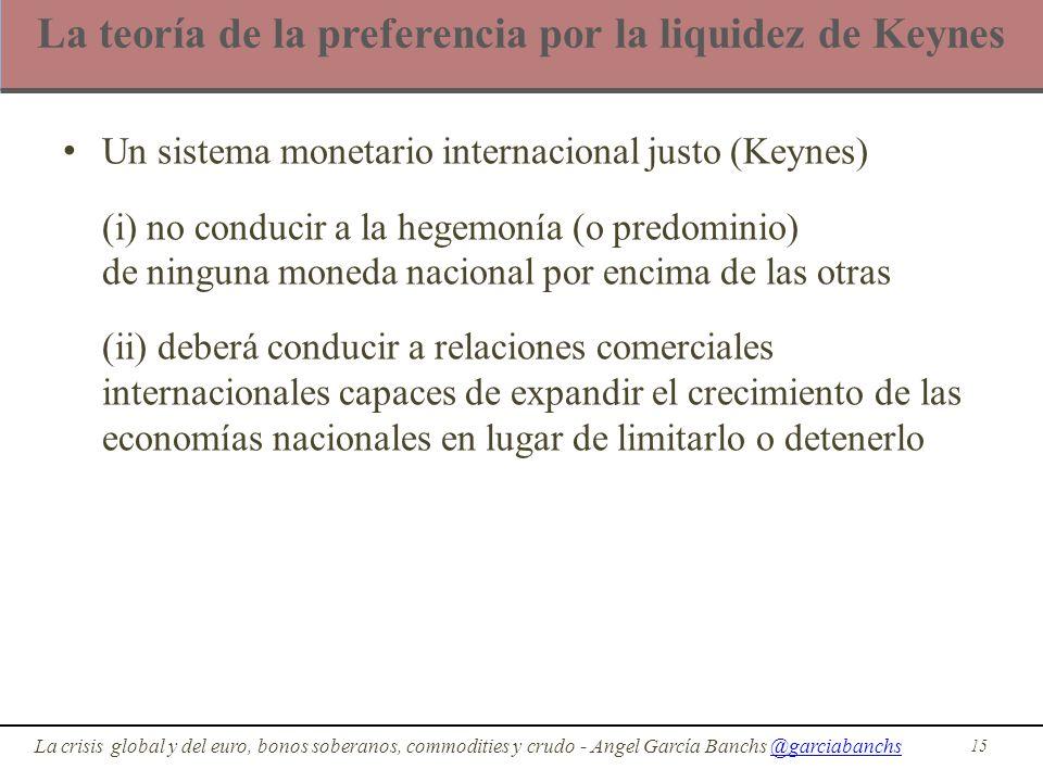 La teoría de la preferencia por la liquidez de Keynes Un sistema monetario internacional justo (Keynes) (i) no conducir a la hegemonía (o predominio)