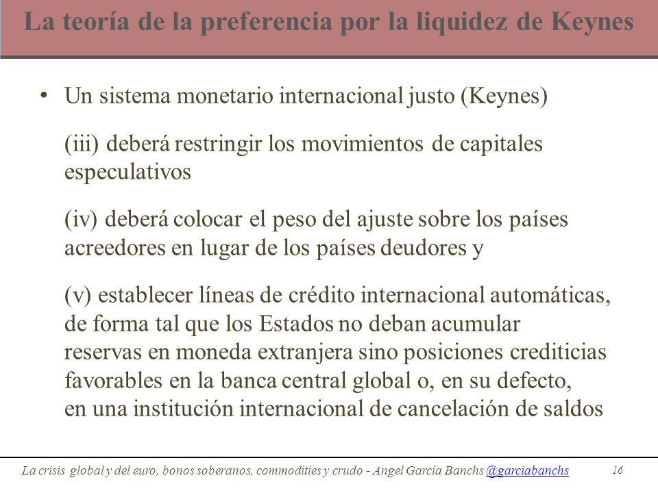 La teoría de la preferencia por la liquidez de Keynes Un sistema monetario internacional justo (Keynes) (iii) deberá restringir los movimientos de cap