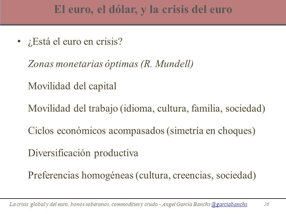 El euro, el dólar, y la crisis del euro ¿Está el euro en crisis? Zonas monetarias óptimas (R. Mundell) Movilidad del capital Movilidad del trabajo (id