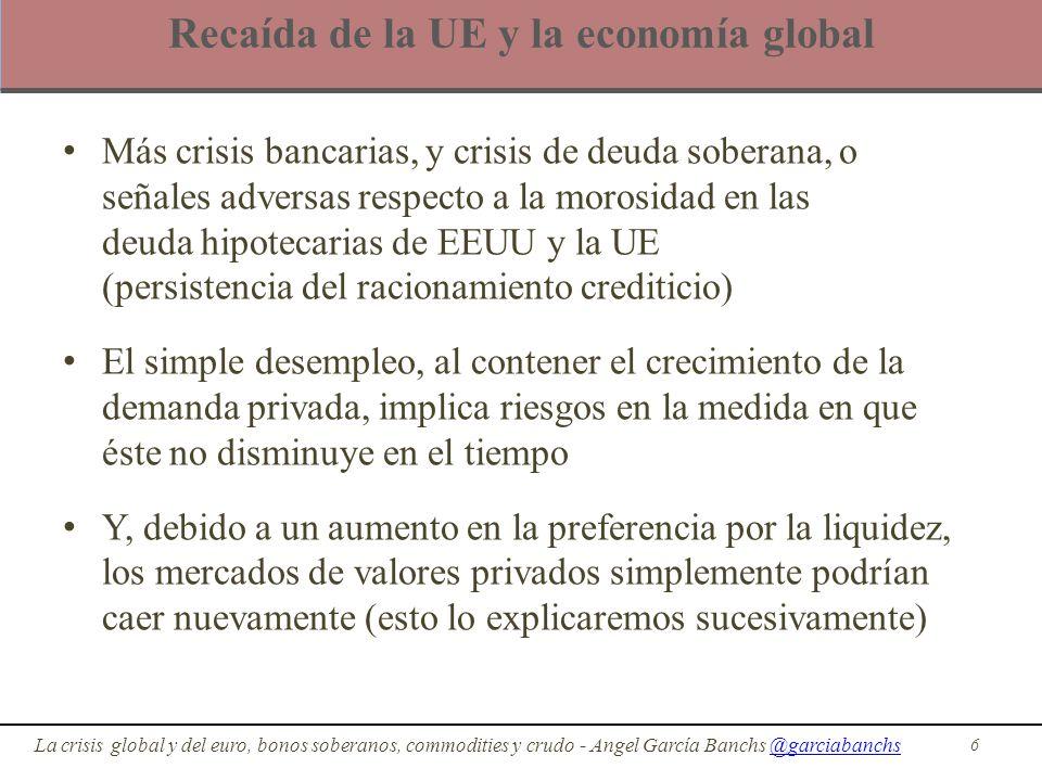 Recaída de la UE y la economía global Más crisis bancarias, y crisis de deuda soberana, o señales adversas respecto a la morosidad en las deuda hipote