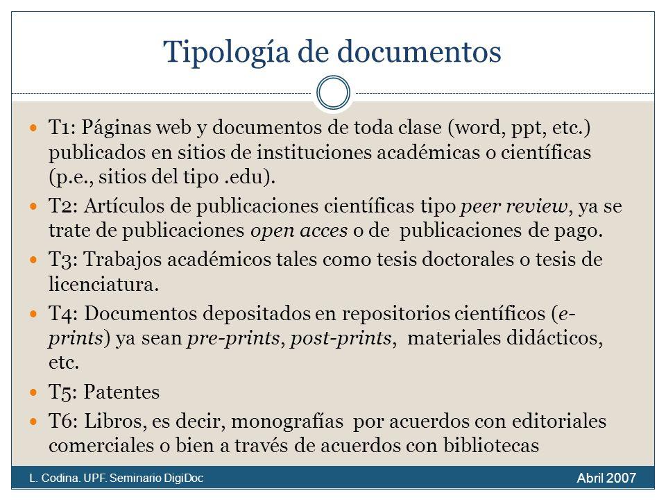 Tipología de documentos T1: Páginas web y documentos de toda clase (word, ppt, etc.) publicados en sitios de instituciones académicas o científicas (p.e., sitios del tipo.edu).