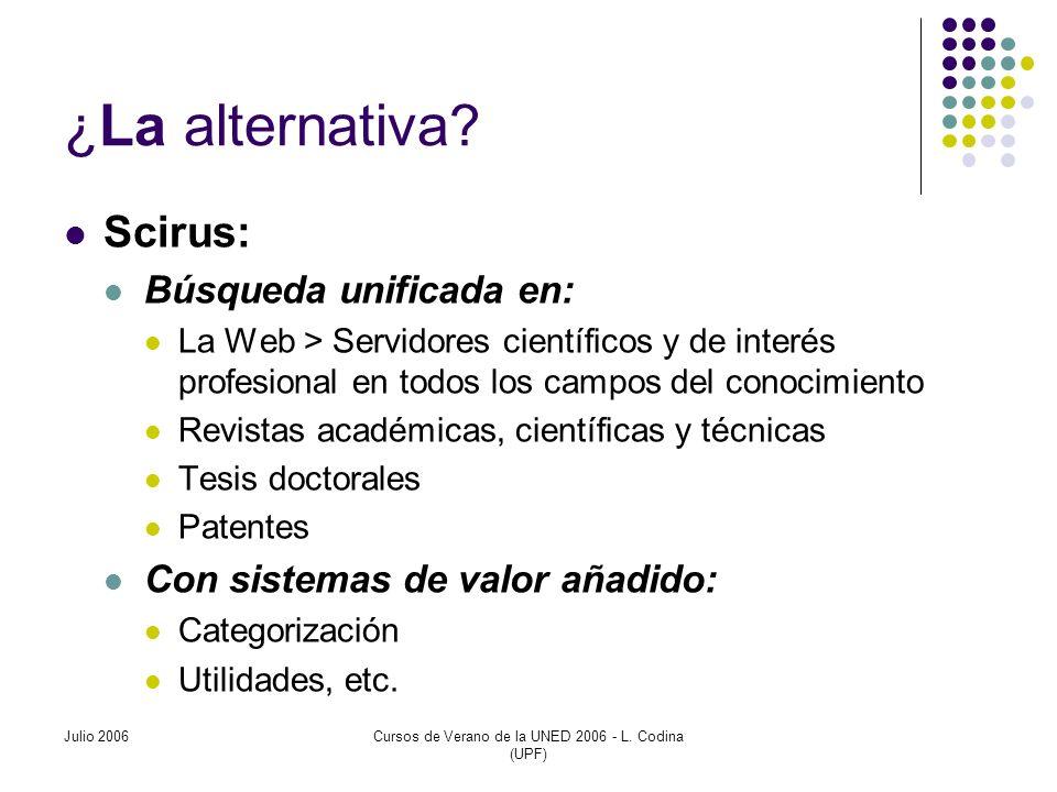 Julio 2006Cursos de Verano de la UNED 2006 - L. Codina (UPF) ¿ La alternativa .