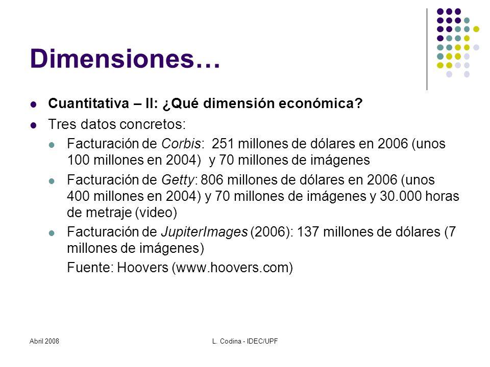 Abril 2008L. Codina - IDEC/UPF Dimensiones… Cuantitativa – II: ¿Qué dimensión económica.