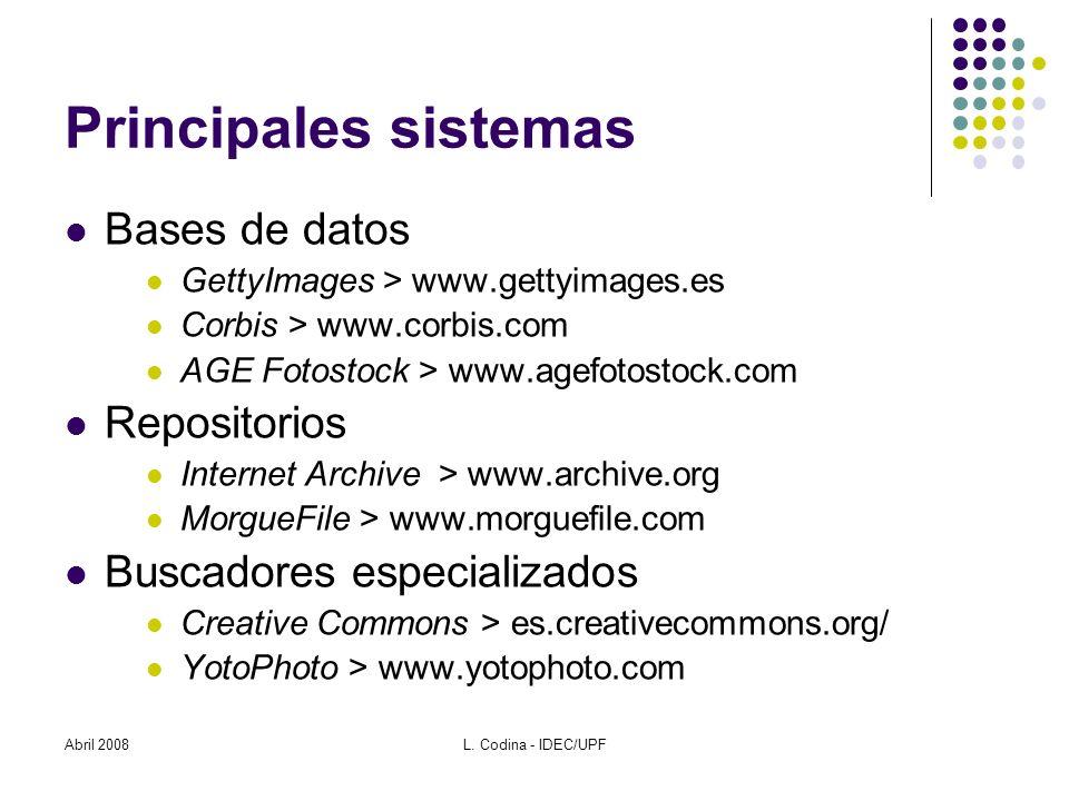 Abril 2008L. Codina - IDEC/UPF Fuentes www.tasi.ac.uk