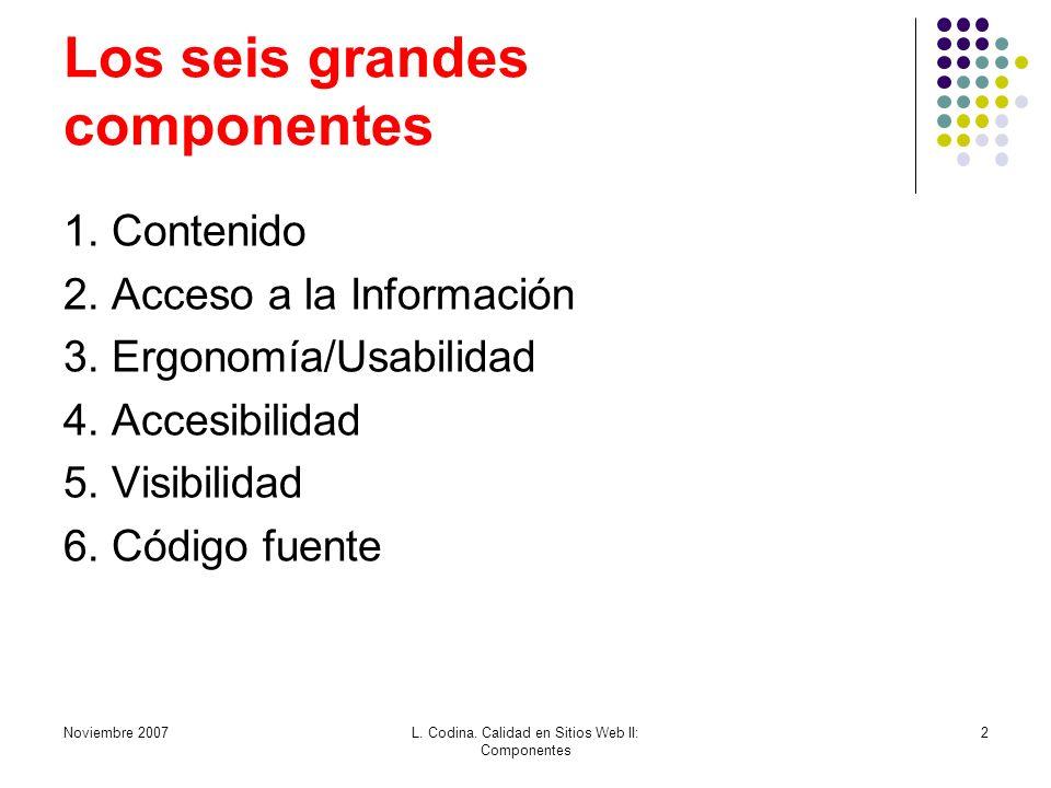 Noviembre 2007L. Codina. Calidad en Sitios Web II: Componentes 2 Los seis grandes componentes 1. Contenido 2. Acceso a la Información 3. Ergonomía/Usa