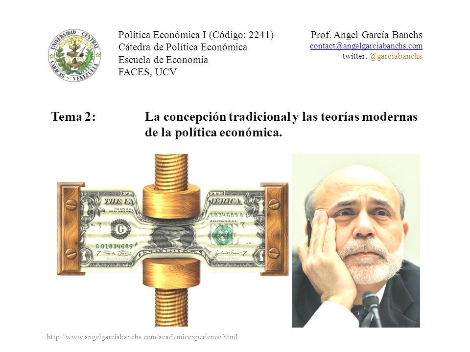Política Económica I (Código: 2241) Cátedra de Política Económica Escuela de Economía FACES, UCV Prof. Angel García Banchs contact@angelgarciabanchs.c