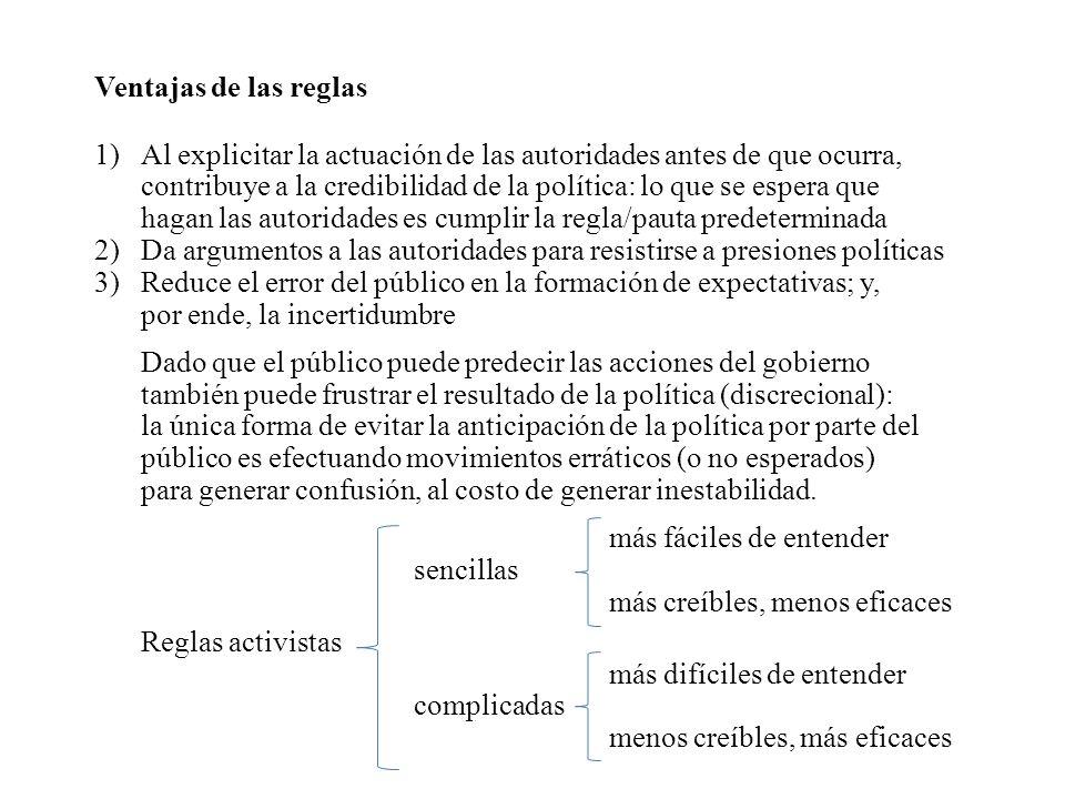 Ventajas de las reglas 1)Al explicitar la actuación de las autoridades antes de que ocurra, contribuye a la credibilidad de la política: lo que se esp