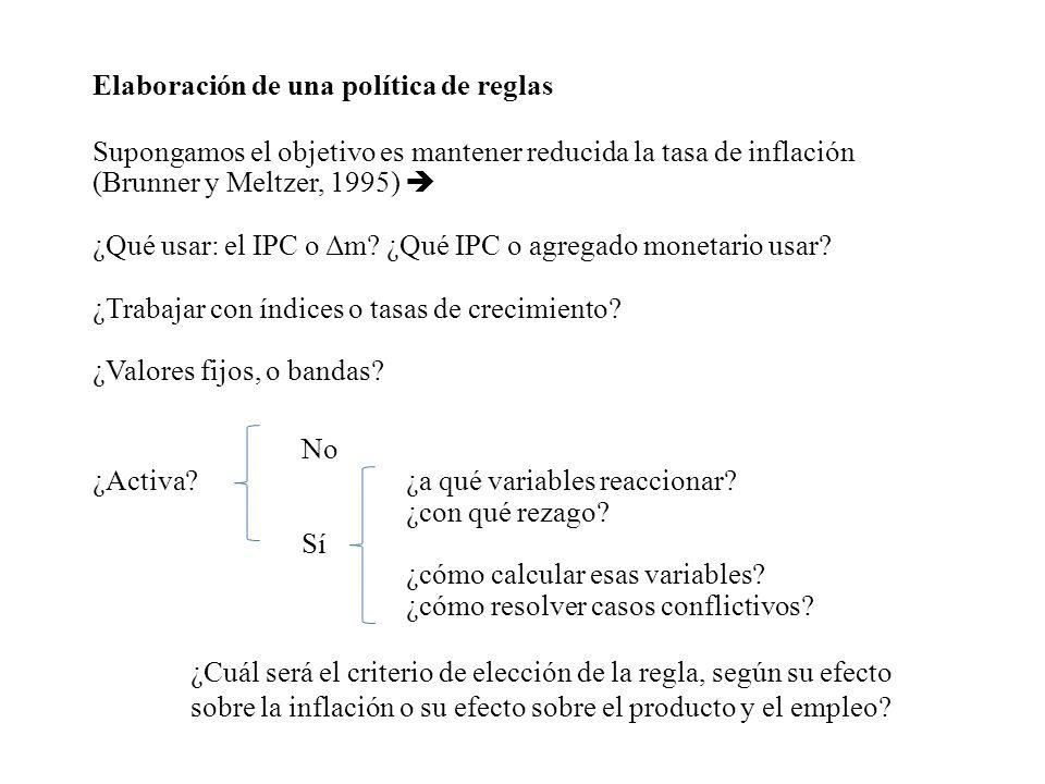 Elaboración de una política de reglas Supongamos el objetivo es mantener reducida la tasa de inflación (Brunner y Meltzer, 1995) ¿Qué usar: el IPC o Δ