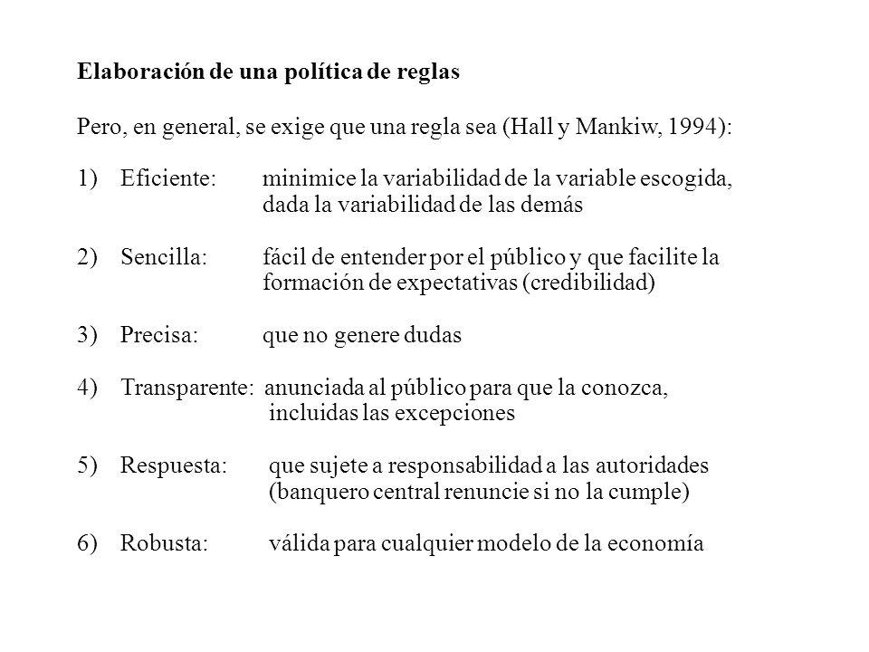 Elaboración de una política de reglas Pero, en general, se exige que una regla sea (Hall y Mankiw, 1994): 1)Eficiente: minimice la variabilidad de la