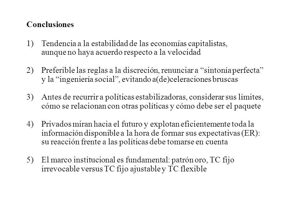 Conclusiones 1)Tendencia a la estabilidad de las economías capitalistas, aunque no haya acuerdo respecto a la velocidad 2)Preferible las reglas a la d