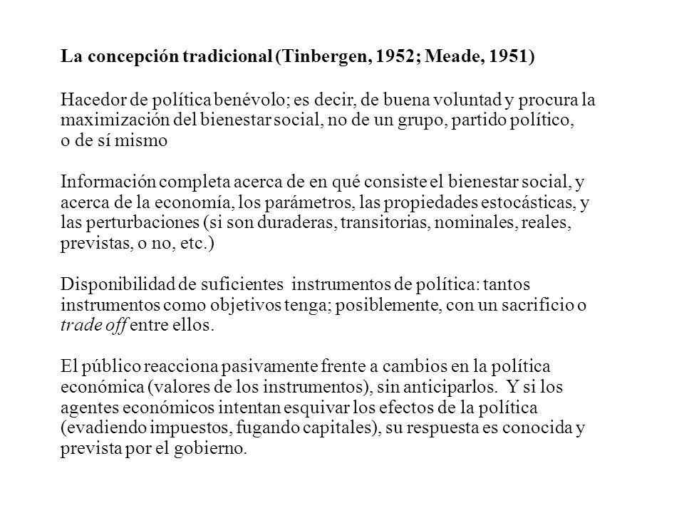 La concepción tradicional (Tinbergen, 1952; Meade, 1951) Hacedor de política benévolo; es decir, de buena voluntad y procura la maximización del biene