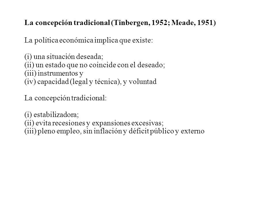 La concepción tradicional (Tinbergen, 1952; Meade, 1951) La política económica implica que existe: (i) una situación deseada; (ii) un estado que no co