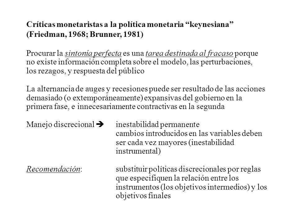 Críticas monetaristas a la política monetaria keynesiana (Friedman, 1968; Brunner, 1981) Procurar la sintonía perfecta es una tarea destinada al fraca