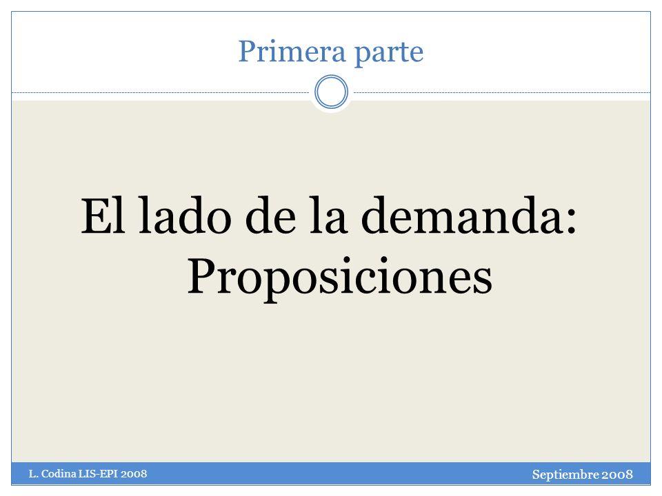Primera parte El lado de la demanda: Proposiciones Septiembre 2008 L. Codina LIS-EPI 2008