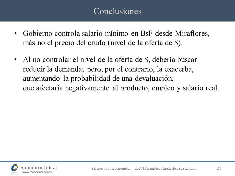Conclusiones 24Perspectivas Económicas - LXVI Asamblea Anual de Fedecamaras Gobierno controla salario mínimo en BsF desde Miraflores, más no el precio del crudo (nivel de la oferta de $).
