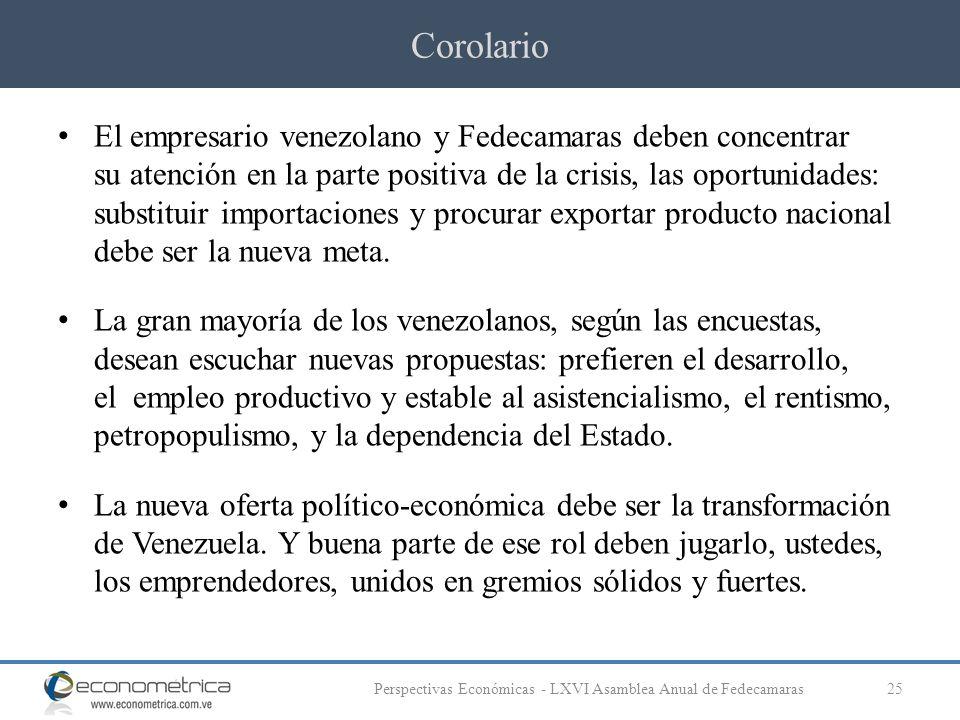 Corolario 25Perspectivas Económicas - LXVI Asamblea Anual de Fedecamaras El empresario venezolano y Fedecamaras deben concentrar su atención en la parte positiva de la crisis, las oportunidades: substituir importaciones y procurar exportar producto nacional debe ser la nueva meta.