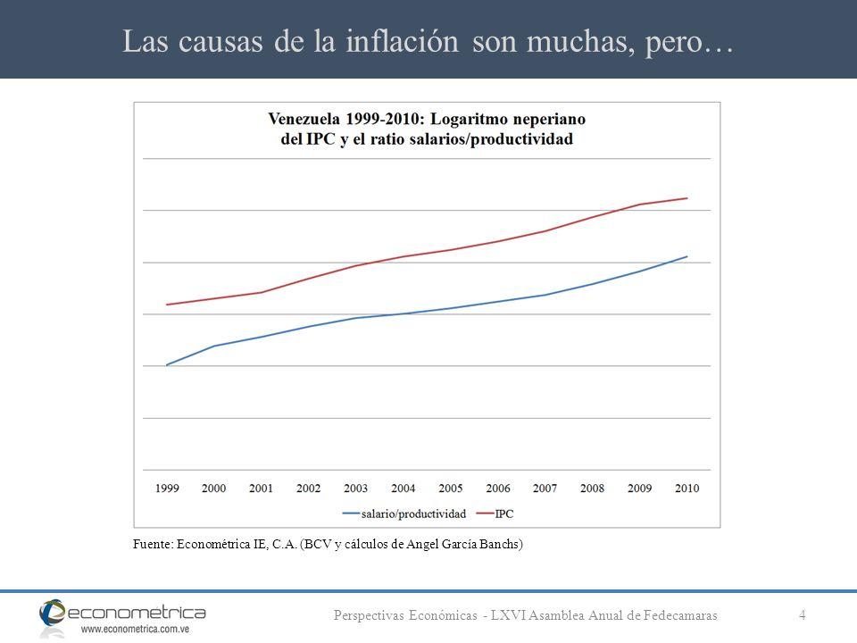 Las causas de la inflación son muchas, pero… 4Perspectivas Económicas - LXVI Asamblea Anual de Fedecamaras Fuente: Econométrica IE, C.A. (BCV y cálcul